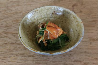 かき燻製と水菜と薄揚げの和え物