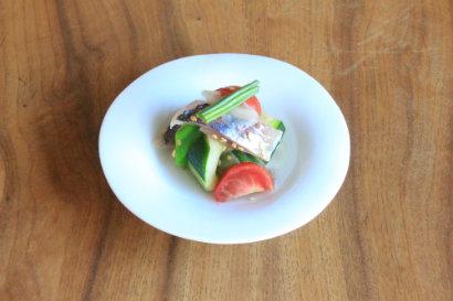小アジと夏野菜と新生姜の和え物